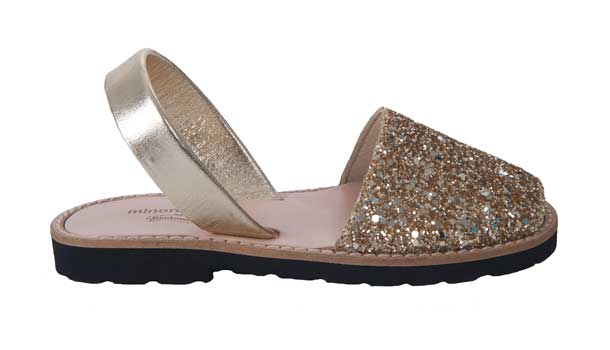 Minorquines girls gold glitter sandals