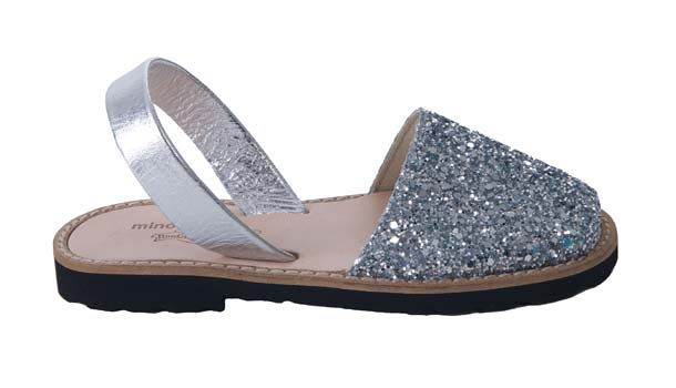 Minorquines girls silver glitter sandals