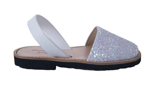 Minorquines girls white glitter sandals