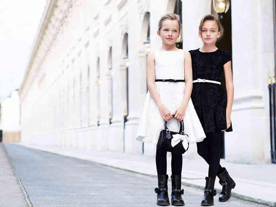 Monnalisa Girls Black White Dress