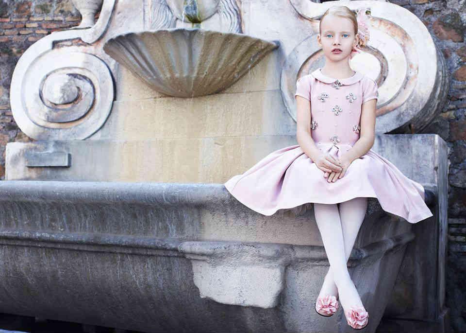 Monnalisa Girls Pink Party Dress