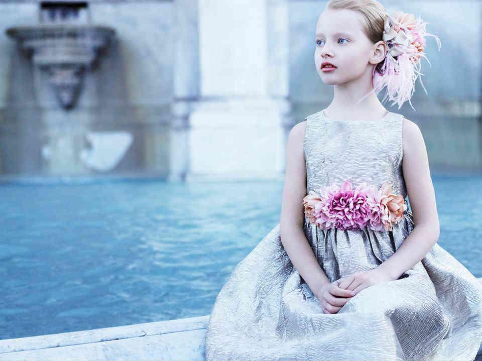 Monnalisa Girls Silver Dress