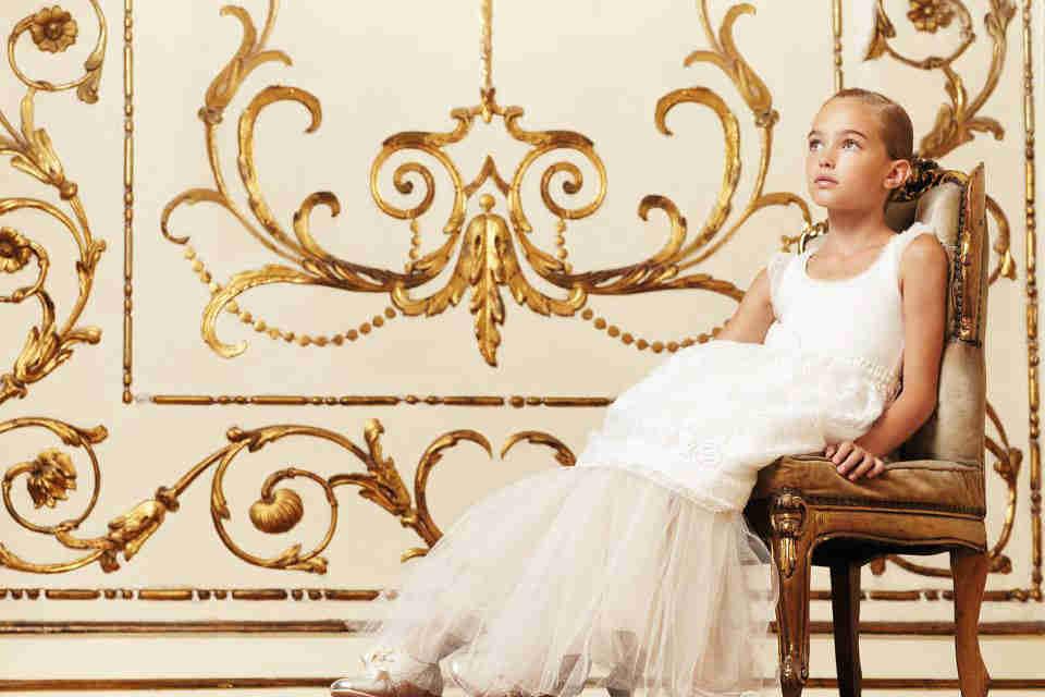 Monnalisa Girls White Formal Dress