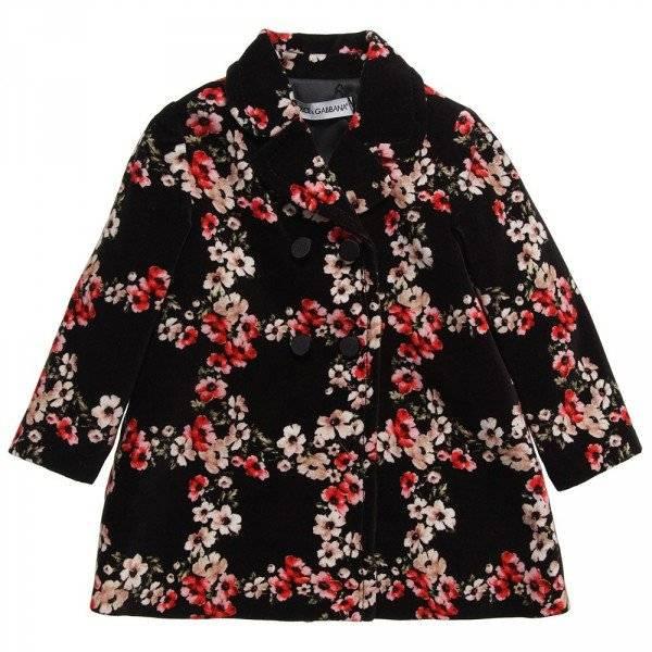 Dolce Gabbana Girls Floral Velvet Coat