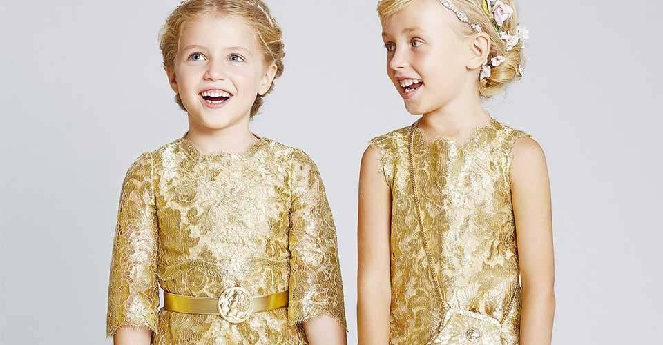 Dolce Gabbana Girls Golden Dress