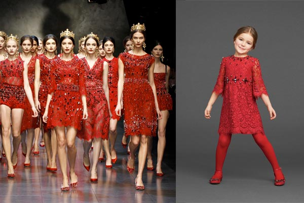 dolce gabbana red mini me dress