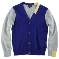 paul smith junior Marl grey and royal-blue cardigan