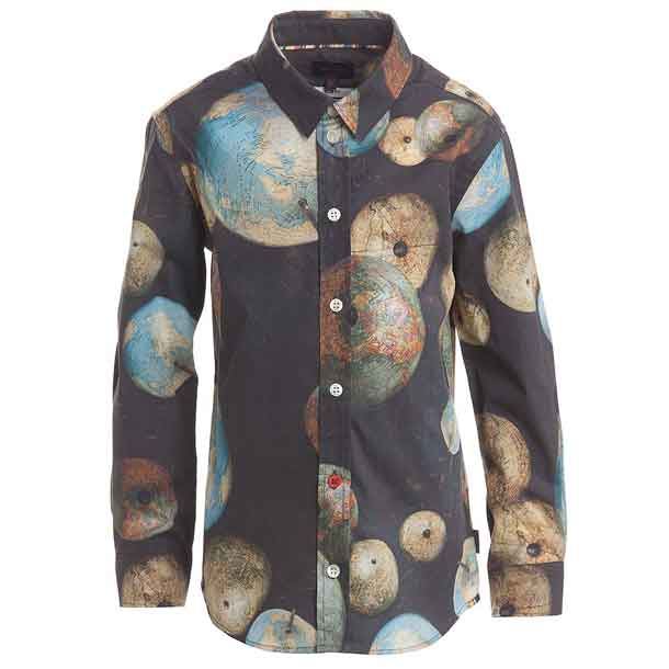 boys globe print shirt by Paul Smith