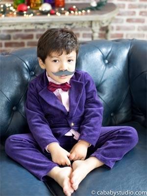 petite bowtie boys purple suit