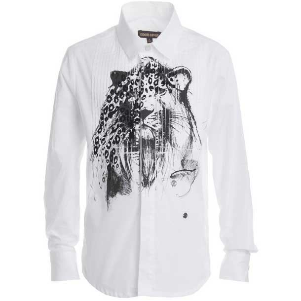 roberto cavalli boys lion dress shirt