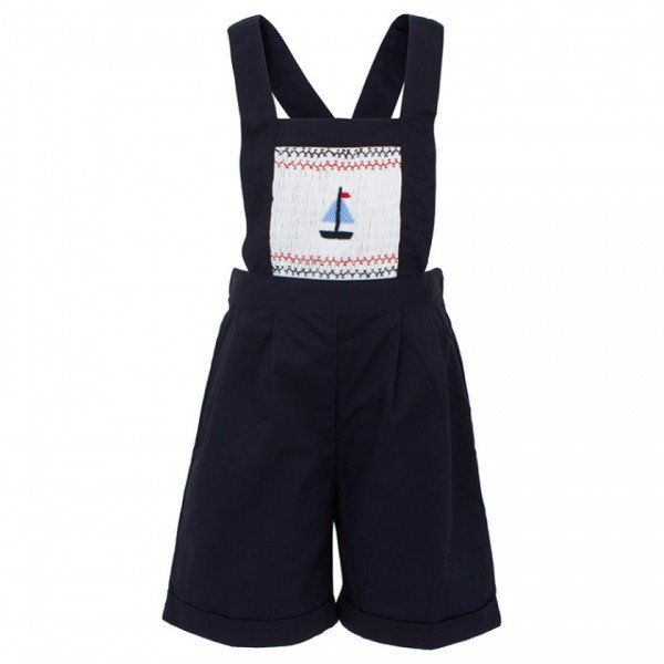 Blue Smocked Boat Dungarees by Rachel Riley