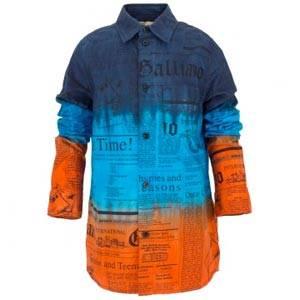John Galliano Gazette print dip dye shirt