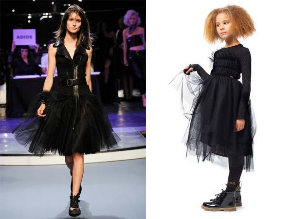 junior gaultier black tulle mini me dress