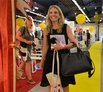 Laura Yatim Dashin Fashion Reporting at Trade Show