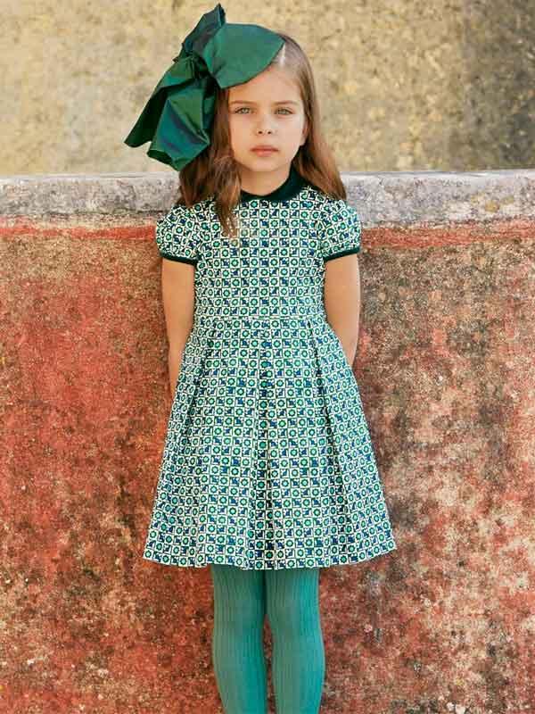 oscar de la renta girls green sleeveless dress