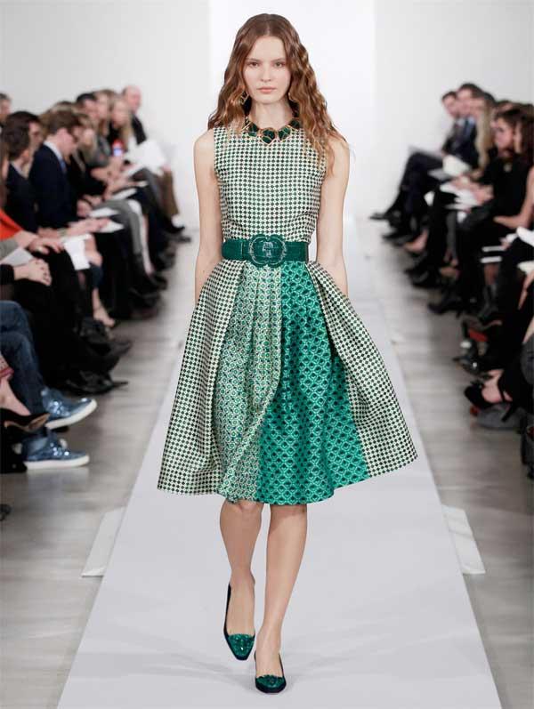 oscar de la renta green Sleeveless dress