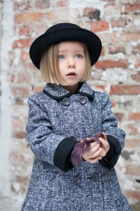 TROIZENFANTS Grey Tweed Coat