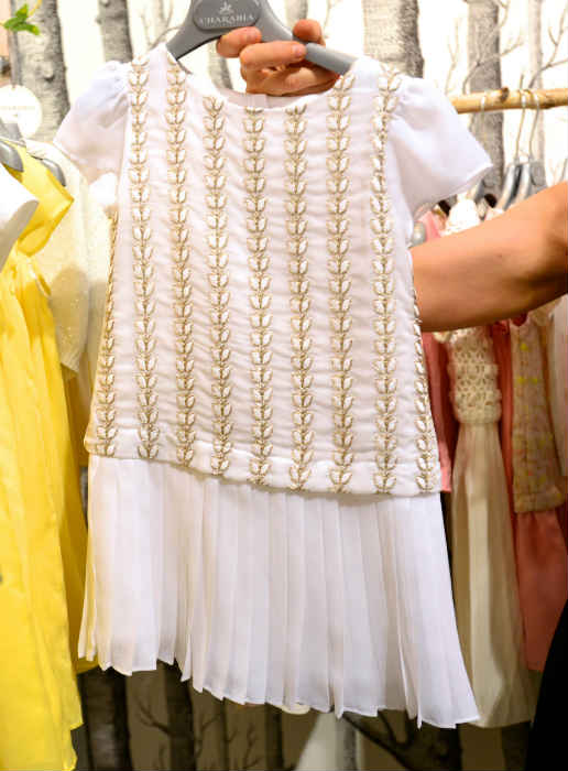Charabia White Gold Embroidered Dress