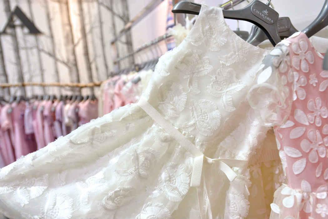 Charabia White Flower Lazer Cut Dress