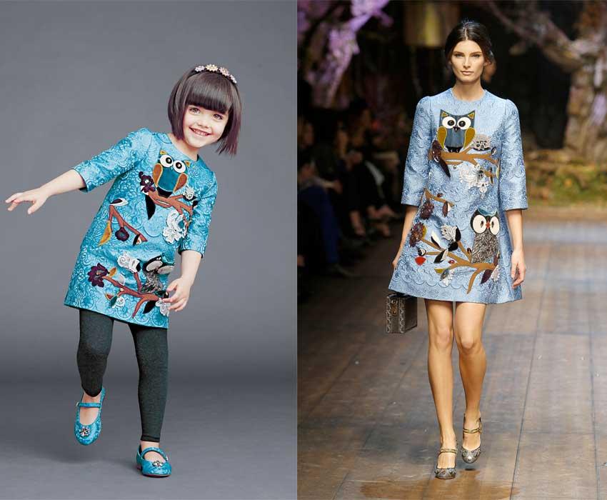 dolce and gabbana mini-me girls fw14 owl dress
