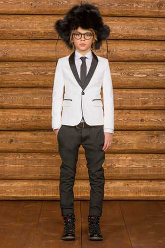 dsquared2 boys black and white suit
