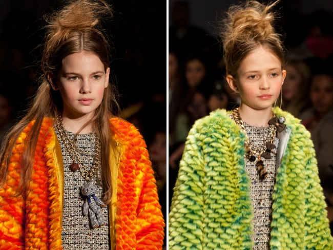 mischka aoki girls citruc fur coat fw14