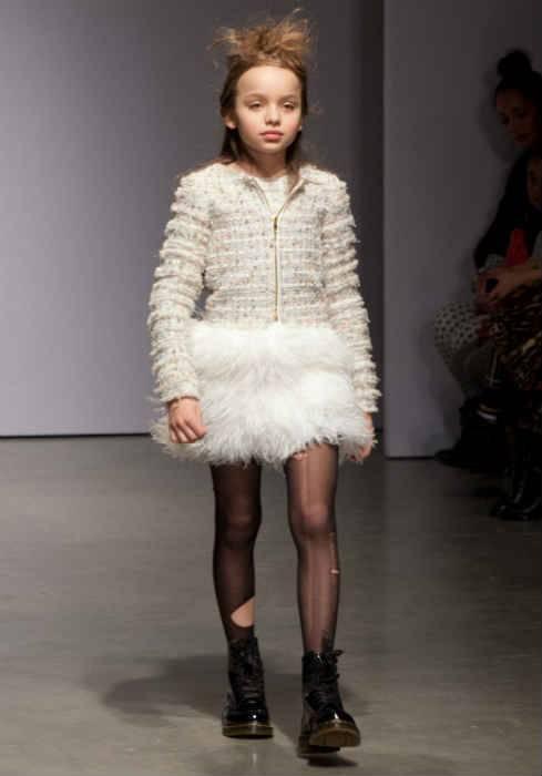 mischka aoki girls white confetti dress fw14