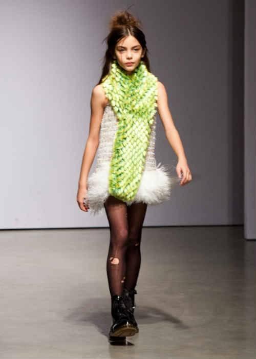mischka aoki girls white feather dress fw14