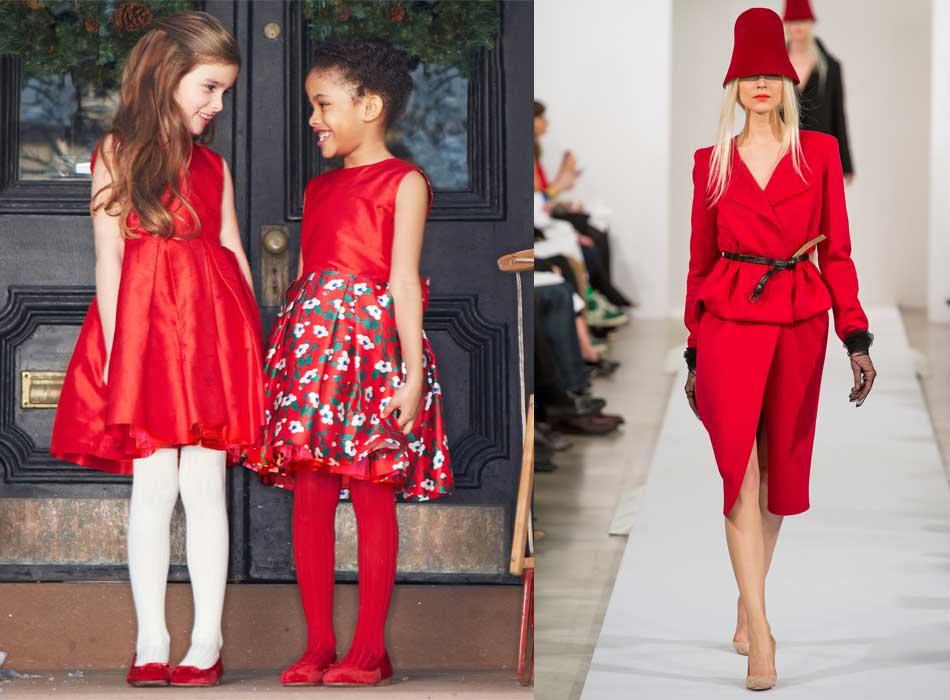 oscard de la renta girls mini me red dress fw14