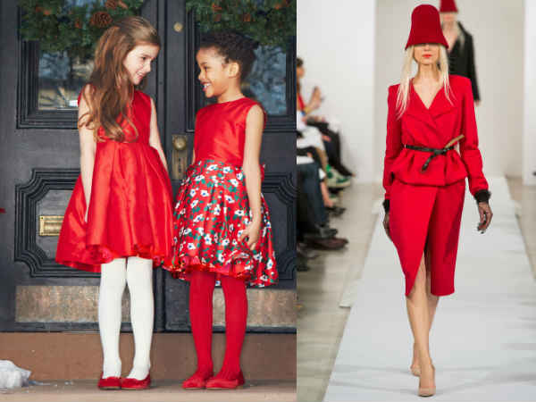 oscar de la renta girls red holiday dress fw14