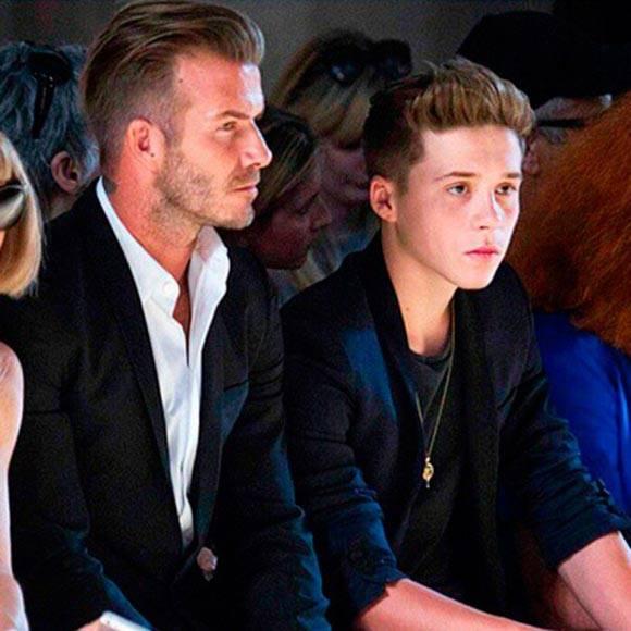David and Brooklyn Beckham Front Row at New York Fashion Week Summer 2015