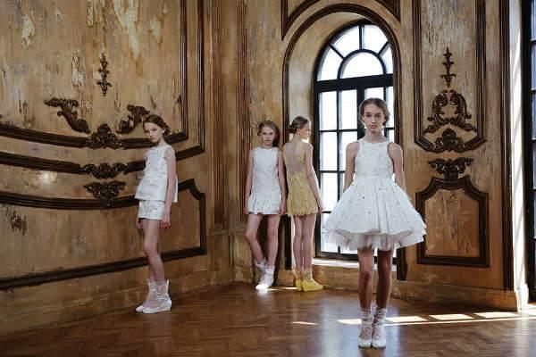 Mischka Aoki Girls White Formal Dress ss15