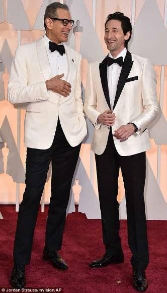 Grand Budapest Hotel stars Jeff Goldblum and Adrien Brody in Matching Tuxedos