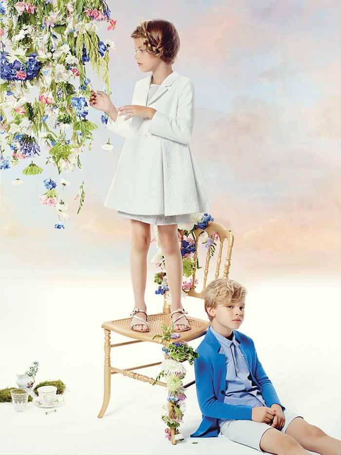 Dior Girls White Dress Spring 2015