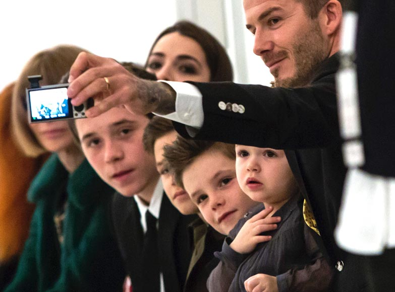Beckham Family Selfie Front Row at New York Fashion Week Fall Winter 2014
