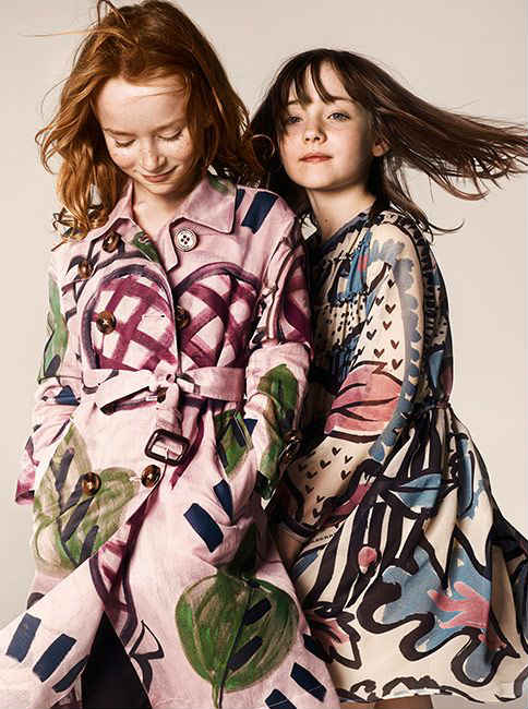 burberry girls fw14 painted trench coats