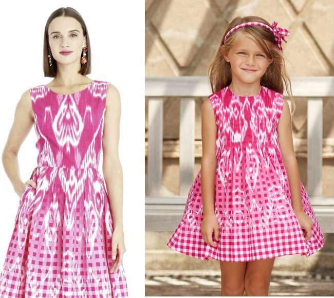 oscar-de-la-renta-girls mini me pink ikat dresses