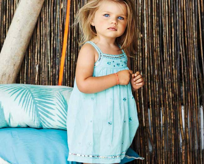 3 pommes toddler girls summer 2015 aqua dress