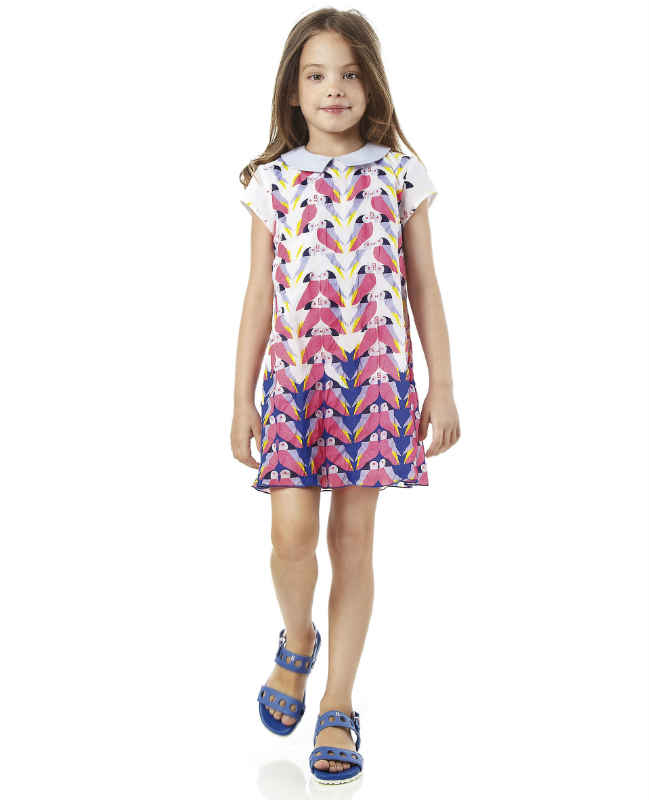 Fendi Blue & Pink Cotton Bird Dress
