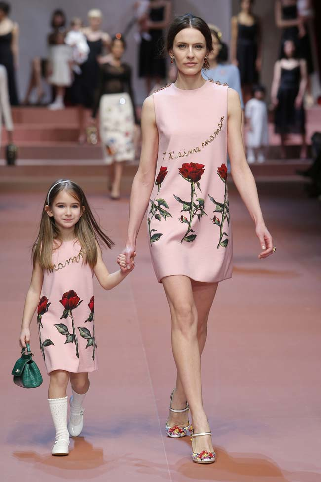 dolce and gabbana winter 2016 mommy and me pink dress