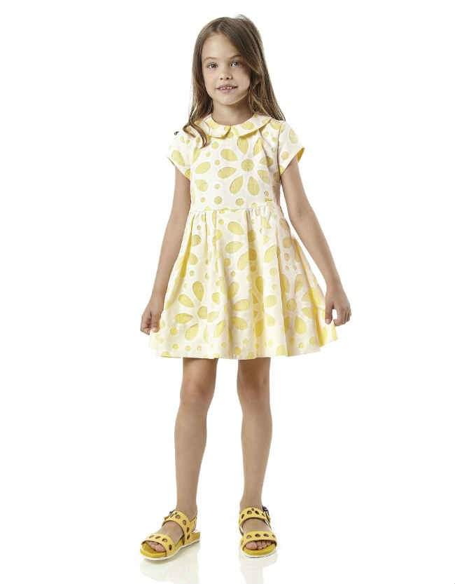 fendi Yellow Cotton & Lace Floral Dress