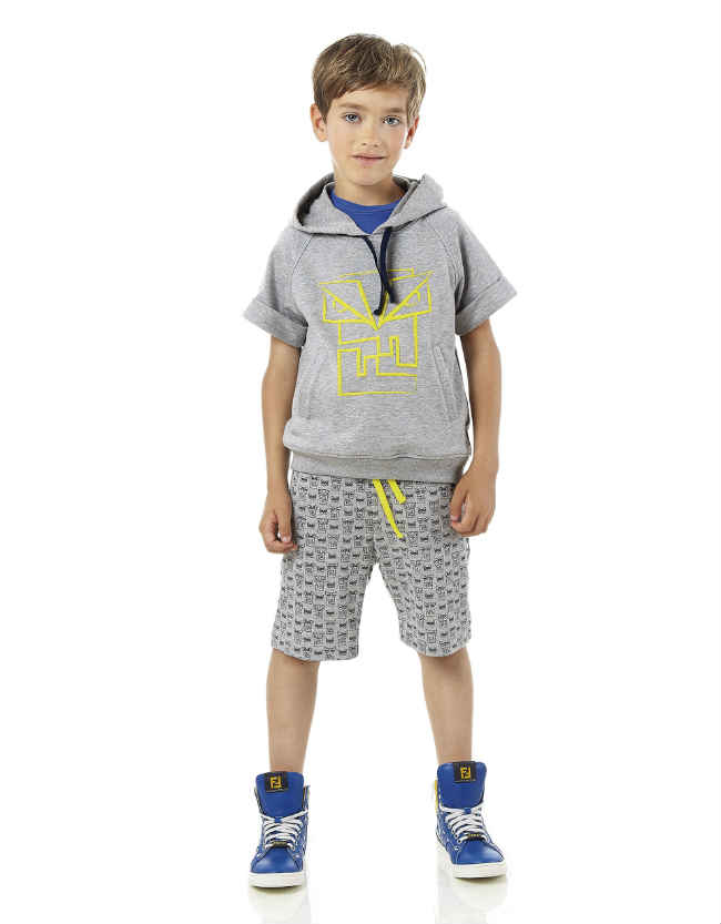 fendi boys monster shorts grey sweat shirt