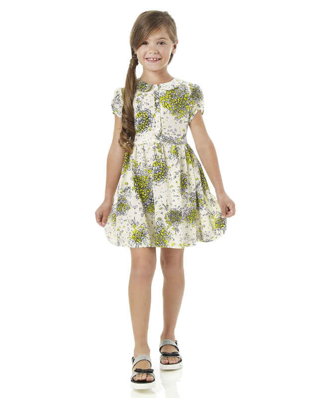 fendi girls white yellow flower dress