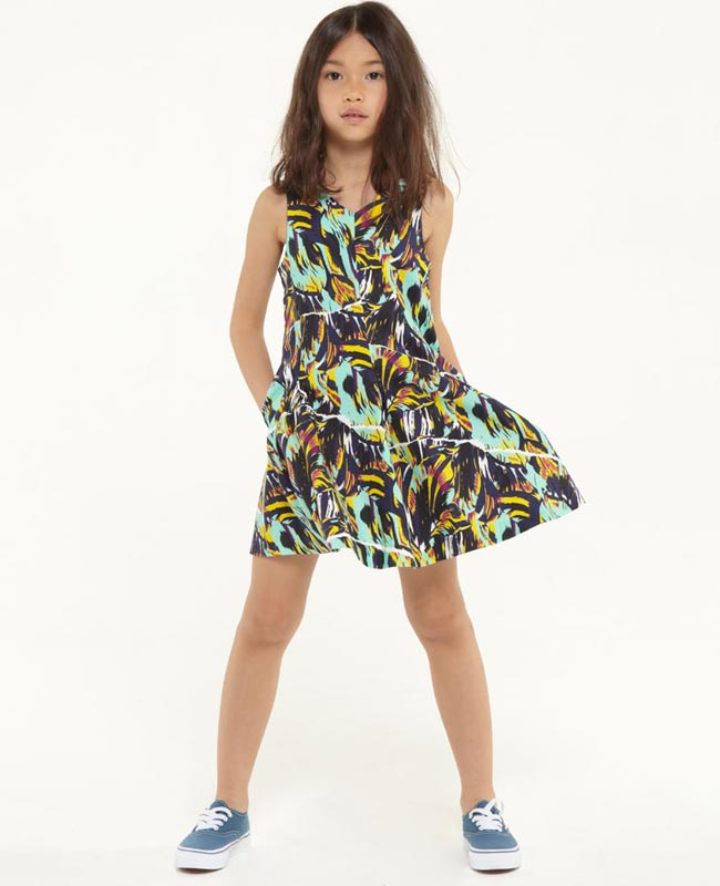 kenzo girls black jungle dress ss15