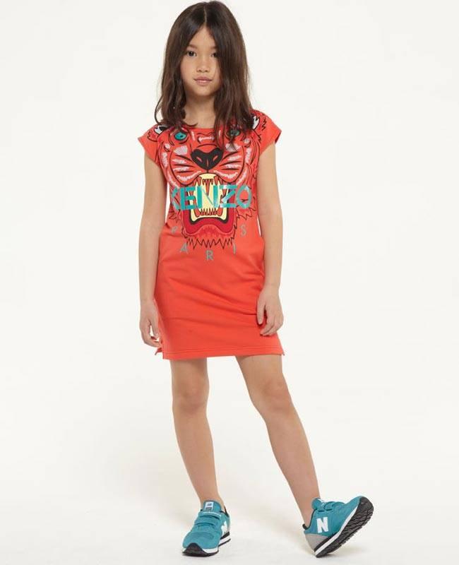 kenzo girls red tiger dress ss15