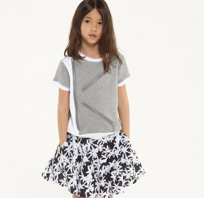 kezno girls zipper shirt and black skirt ss15