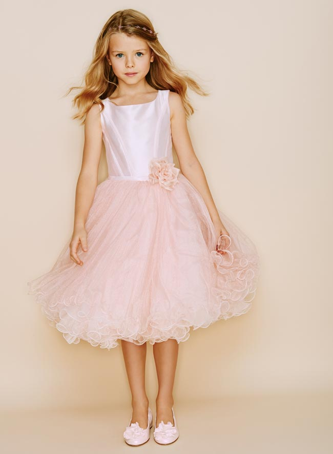 Monnalisa Chic Couture Pink Silk Tulle Dress