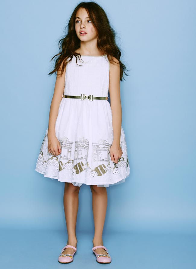 Monnalisa Chic White Gold Embroidered Shop Dress