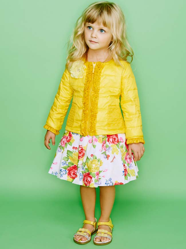 Monnalisa Girls Spring Summer 2015 Yellow Top Flower Skirt