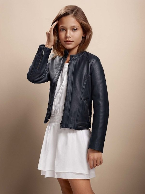 hug boss kidswear girls leather jacket ss15